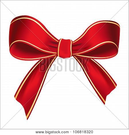 Vector illustration of realistic red bow
