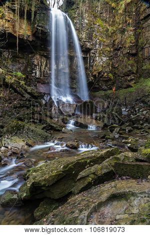 Melincourt Waterfall. Tranquil High Waterfall.