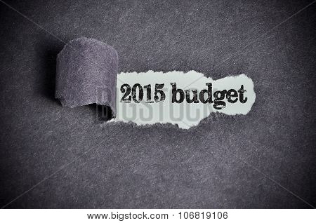 2015 Budget Word Under Torn Black Sugar Paper