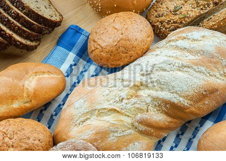 Bakery products on a wooden table