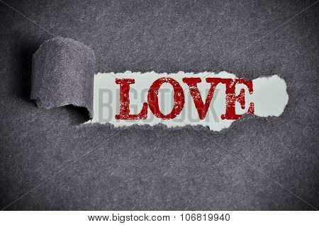 Love Word Under Torn Black Sugar Paper