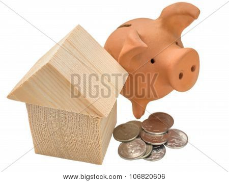 House Of Building Blocks, Coins And Moneybox