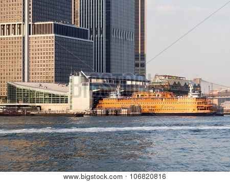 NEW YORK,USA - AUGUST 17,2015 : The Staten Island Ferry  at the South Ferry terminal in Manhattan