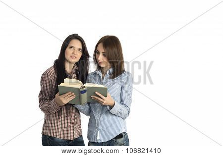 Young women read book on white background