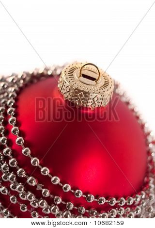 Closeup Of Christmas Ball With Beads