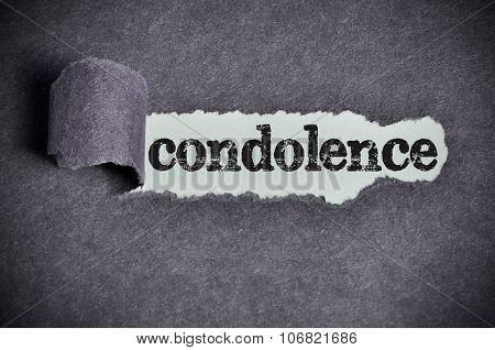 Condolence Word Under Torn Black Sugar Paper