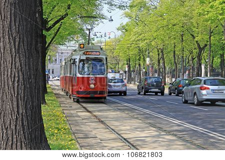 Vienna, Austria - April 25, 2013: Old Red Tram On The Vienna Ring