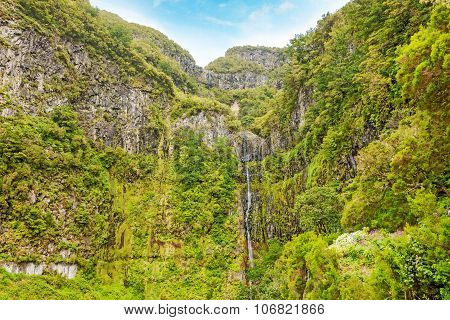 25 Fountains Waterfall And Greenish Forest Landscape, Madeira