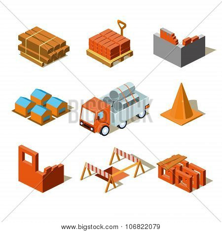Construction Project Info Graphic,Detailed Isometric