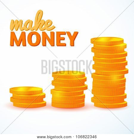 Stacks Of Gold Coins Isolated