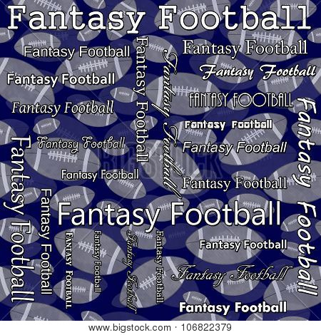 Fantasy Football Design With Blue And Gray Footballs Pattern Repeat Background