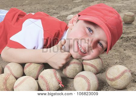 nice child happy to play baseball