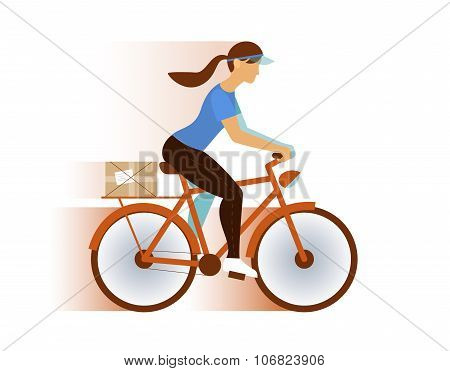 cute postman girl delivery mail or package, email, rss, etc, on a bicycle.  vector illustration