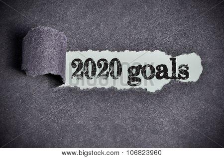 2020 Goals Word Under Torn Black Sugar Paper