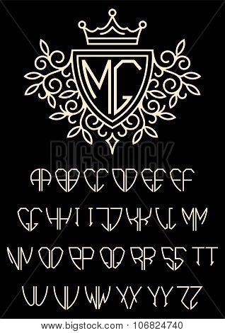 Heraldic Template Monogram With The Bilateral Alphabet