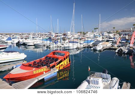 Boats and yachts in Puerto Colon yacht club in Costa Adeje on Tenerife
