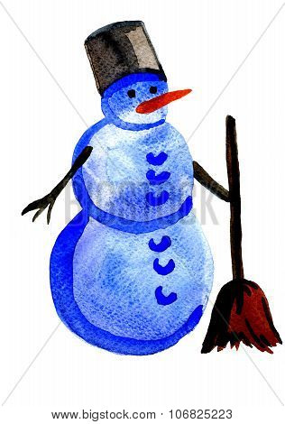 Snowman In Busket With Broom