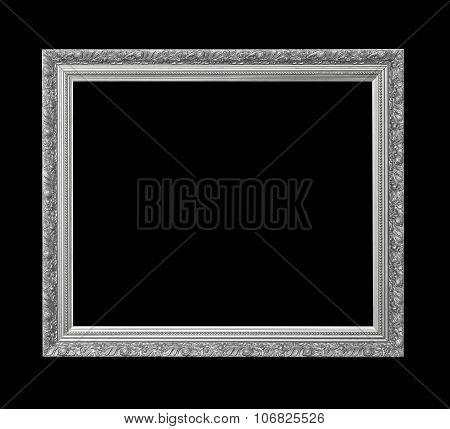 Silver Antique Picture Frame For Oil Painting Isolated On Black Background