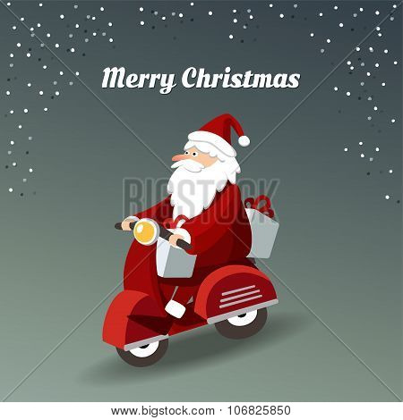 Cute Christmas Greeting Card With Santa Claus Driving Red Scooter And Delivering Gifts, Vector