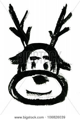 Mask Of Christmas Deer With Staghorns
