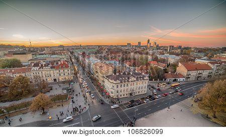 Vilnius, Lithuania: aerial view of main street