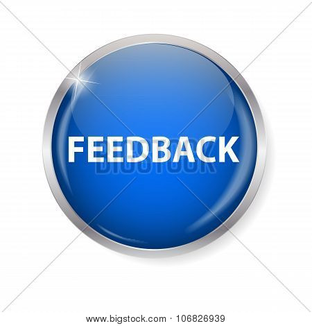 Realistic Glossy Feedback Computer Icon  Button Vector Illustration