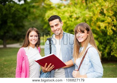 Group of students reading a book