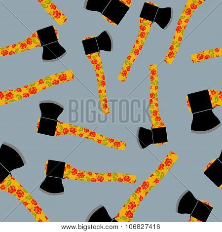 Russian Axe Seamless Pattern. Tools With Traditional Russian Ornament. Dangerous Background Of Edged