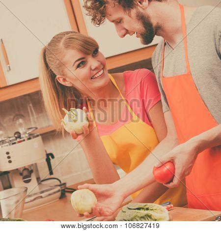 Couple Preparing Fresh Vegetables Food Salad