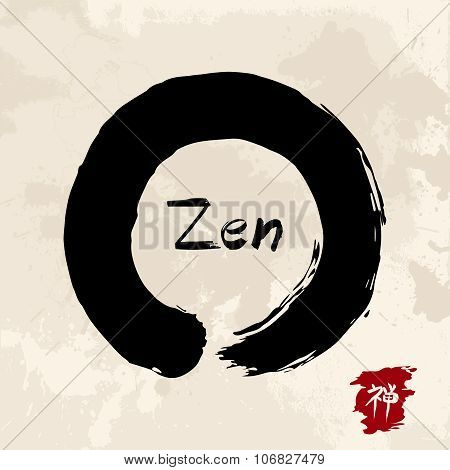 Zen Circle Illustration Traditional Enso