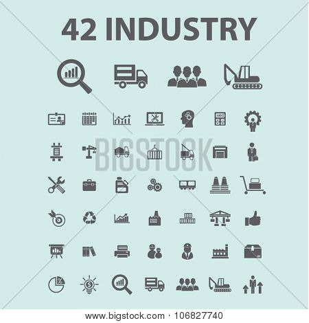 Industrial business. Factory, industry, business meeting, logistics, industrial building, manufacturing, manufacturing plant, engineering, business concept  icons,
