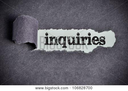 Inquiries Word Under Torn Black Sugar Paper