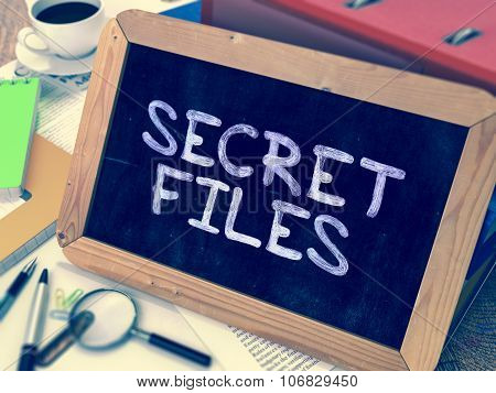 Secret Files Concept Hand Drawn on Chalkboard.