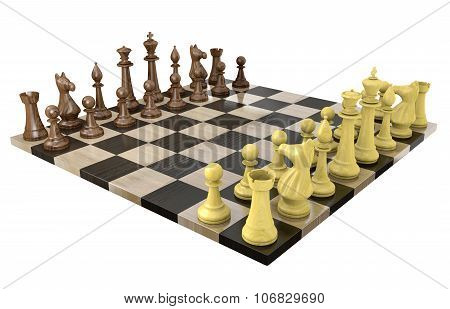 3D chess board with wooden dark and light game pieces