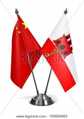 China and Gibraltar - Miniature Flags.