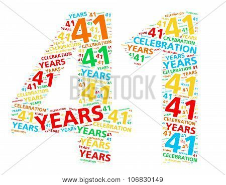 Colorful word cloud for celebrating a 41 year birthday or anniversary
