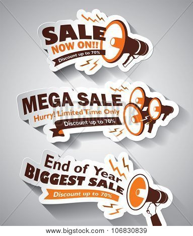 Set of Sale Megaphone design elements