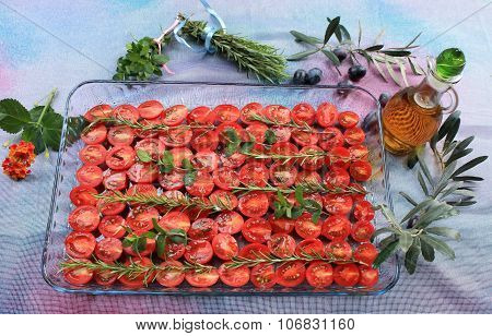 Cherry tomatoes prepared with jerk spices and olive oil