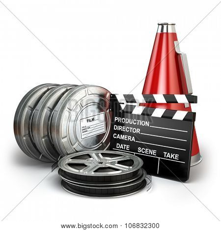 Video, movie, cinema vintage production concept. Reels, clapperboard and megaphone. 3d