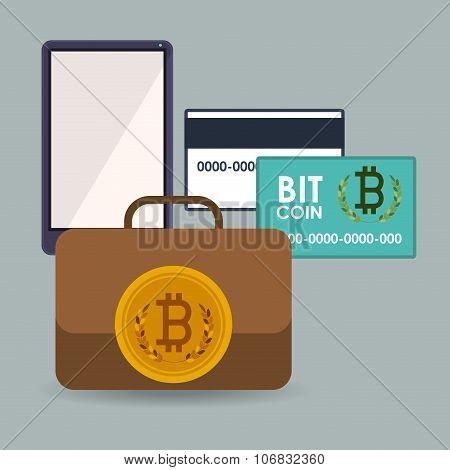bitcoin trading, vector illustration