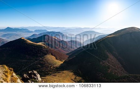 Panoramic Landscape View Of Beautiful Autumn Hills And Mountains, Slovakia