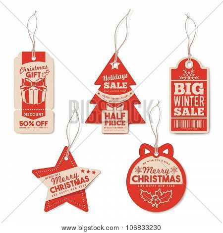 Vintage Christmas Tags Set