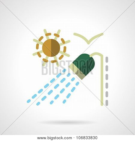 Outdoor shower flat color vector icon