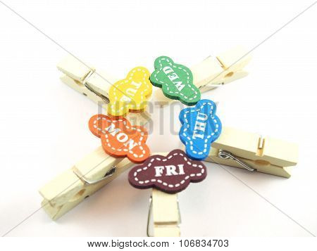 Wooden Paper Clips With Designed As Business Day