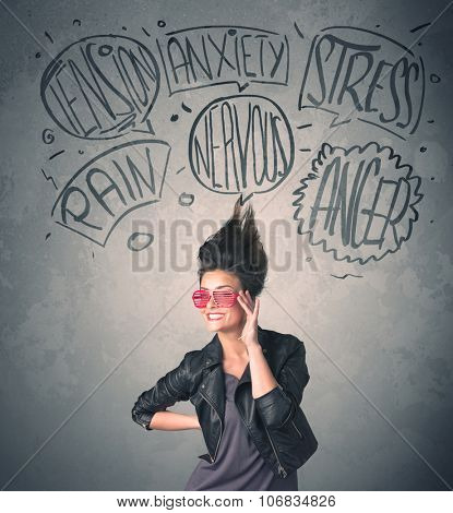 Mad young woman with extreme haisrtyle and speech bubbles concept on background