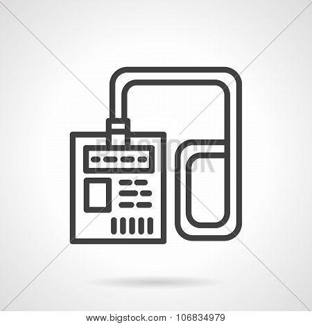 Lanyard badge black simple line vector icon