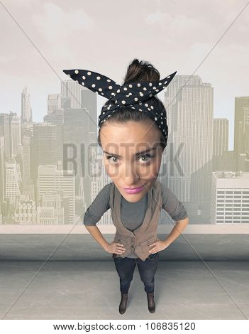 Funny person with big head on gray background
