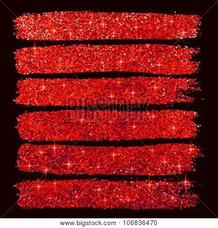 Red glitter brushstrokes set isolated at black background