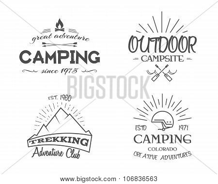 Retro badges and label logo graphics collection. Camping emblems, travel insignia. Monochrome vintag