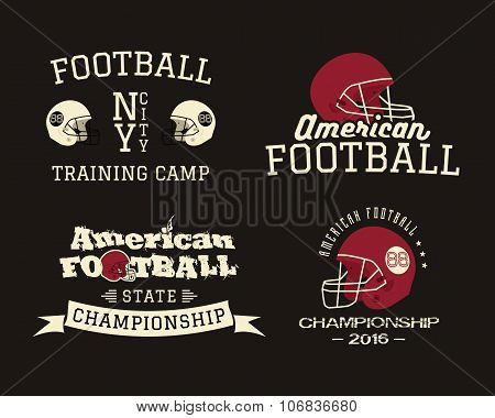 American football championship, team training camp badges, logos, helmet labels in retro color style